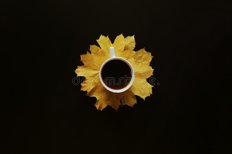 Белая кофейная чашка на желтой предпосылке черноты лист стоковое изображение rf