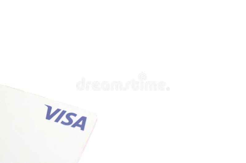 Белая кредитная карточка ВИЗЫ на простой белой предпосылке стоковая фотография