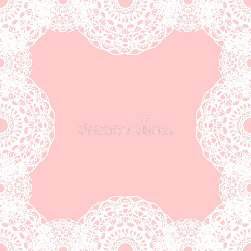 Белая круглая граница шнурка на розовой предпосылке также вектор иллюстрации притяжки corel иллюстрация вектора