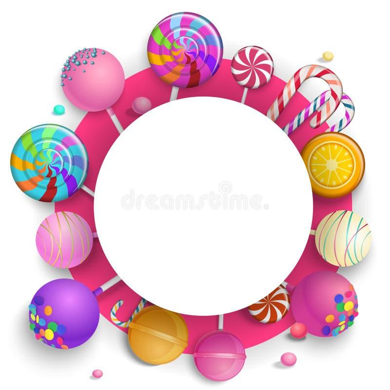 Белая круглая предпосылка с красочными леденцами на палочке иллюстрация штока