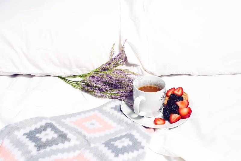 Белая кружка на плите с клубниками и ежевиками помещенными на кровати с цветком используемым как оформление стоковое фото