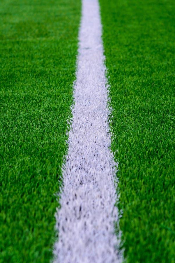 Белая линия на зеленой траве футбольного поля стоковые фотографии rf