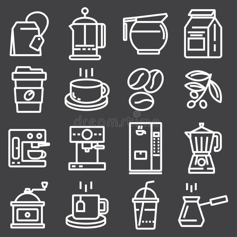 Белая линия установленные значки кофе вектор изображения иллюстраций download готовый иллюстрация штока