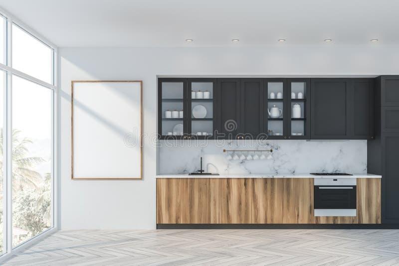 Белая мраморная и серая кухня с плакатом иллюстрация вектора