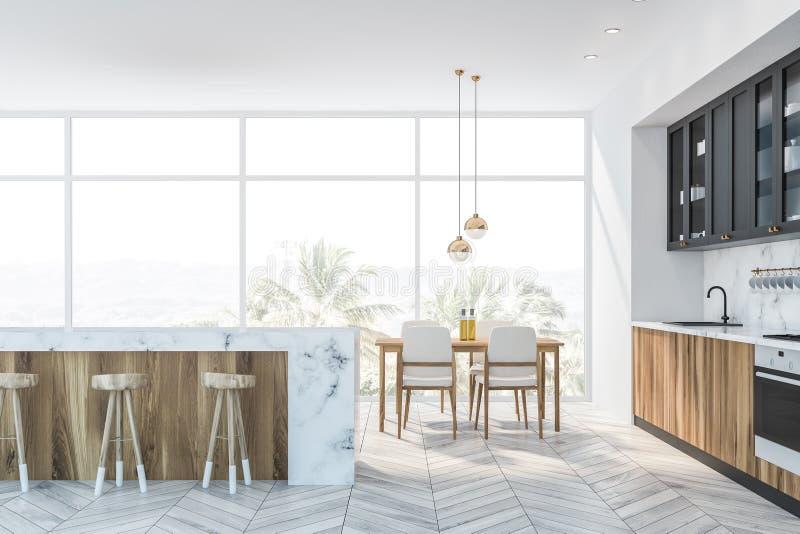 Белая мраморные и серые кухня, бар и таблица бесплатная иллюстрация