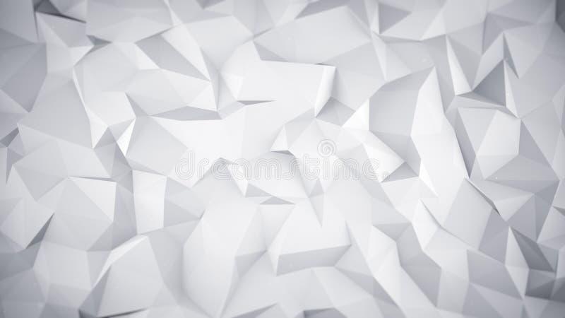 Белая низкая поли поверхность 3D иллюстрация вектора
