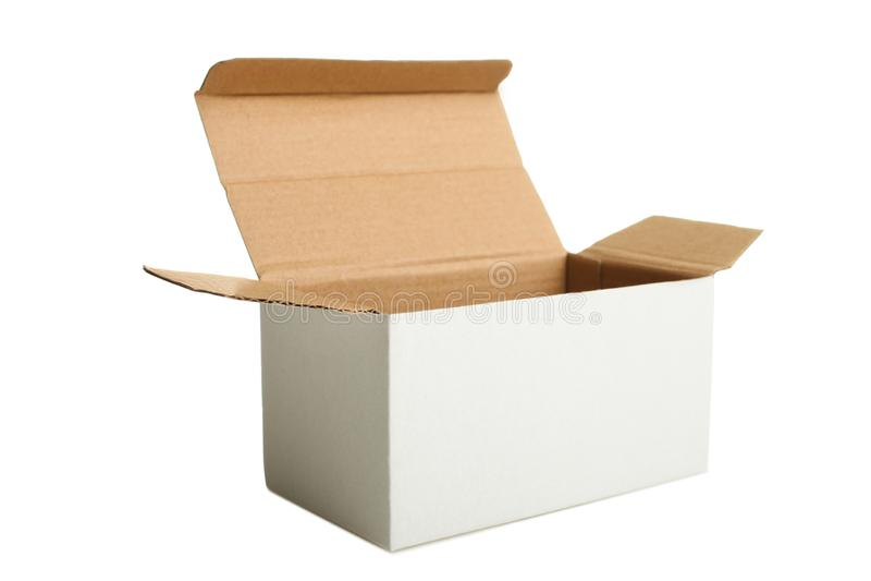 Белая открытая картонная коробка стоковое фото rf