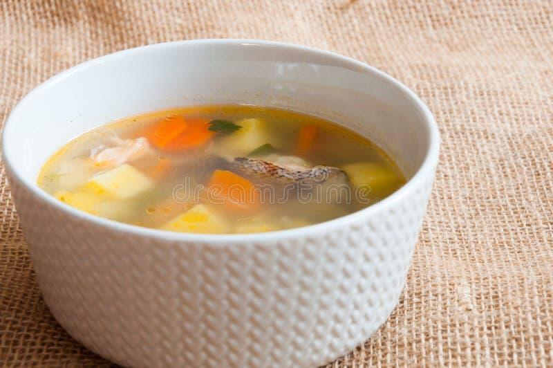 Белая плита с супом рыб стоковое изображение rf