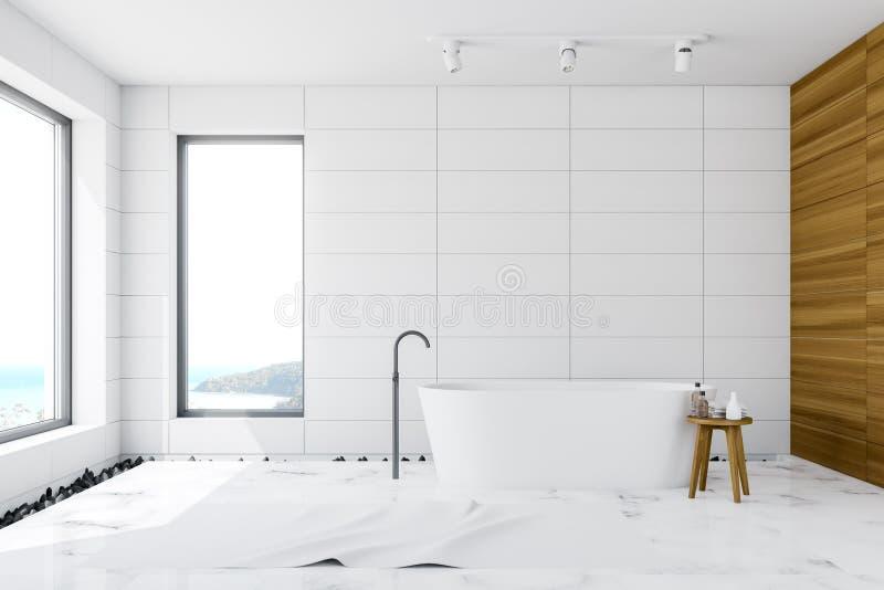 Белая плитка и деревянный интерьер bathroom просторной квартиры иллюстрация вектора