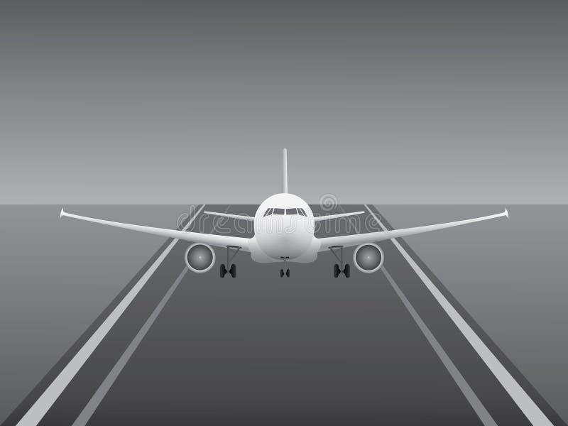 Белая посадка самолета двигателя на взлётно-посадочная дорожка авиапорта для индустрии дела авиакомпании бесплатная иллюстрация