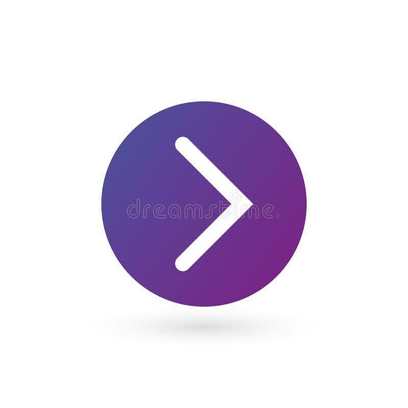 белая правая округленная стрелка в пурпурном значке круга градиента Продолжайте значок Следующий знак Восточная стрелка Иллюстрац иллюстрация вектора