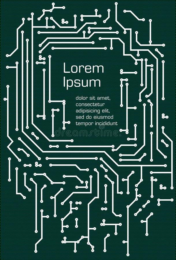 Белая предпосылка в стиле PCB-плана на темной ой-зелен предпосылке иллюстрация вектора