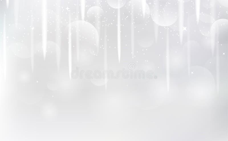 Белая предпосылка, звезды стрельбы падая для того чтобы shimmer вектор световых лучей искры серебряный иллюстрация штока