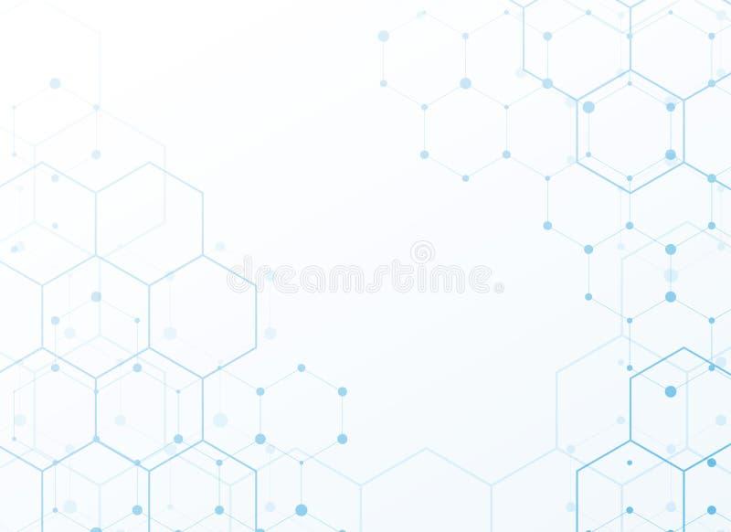 Белая предпосылка с дизайном картины голубого техника шестиугольным бесплатная иллюстрация
