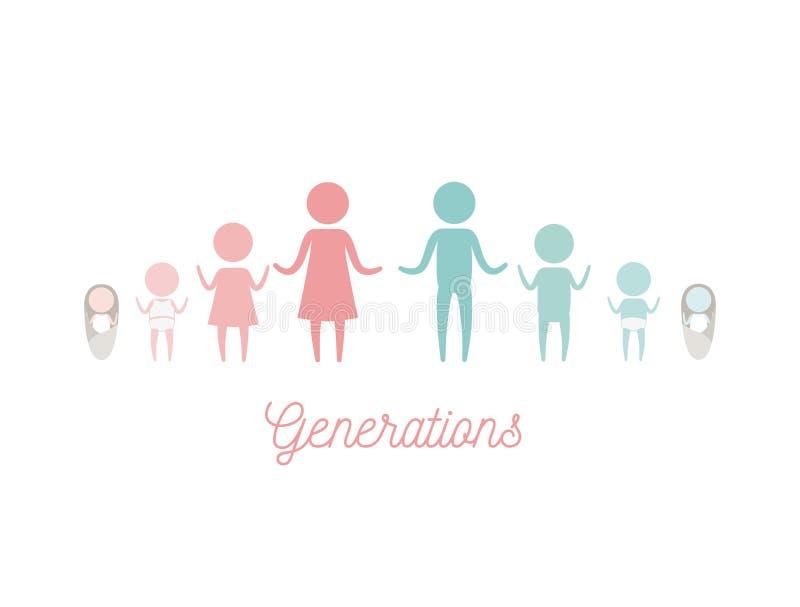 Белая предпосылка с женщиной пиктограммы силуэта цвета и людьми мужских поколений иллюстрация штока