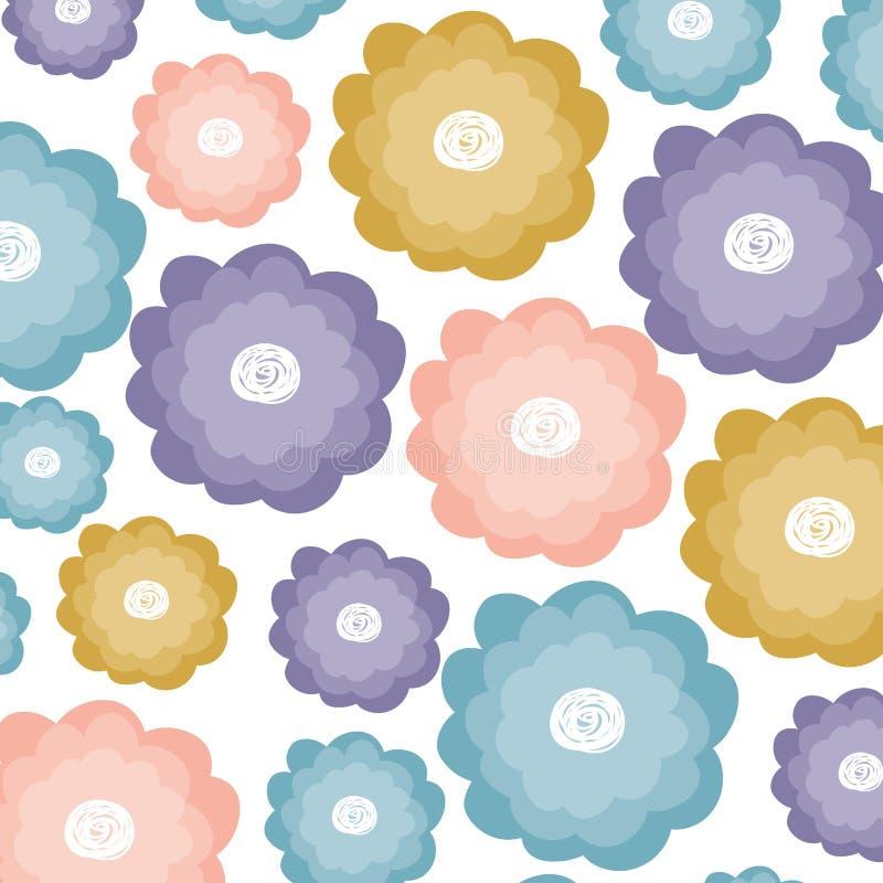 Белая предпосылка с картиной акварели цветков иллюстрация штока
