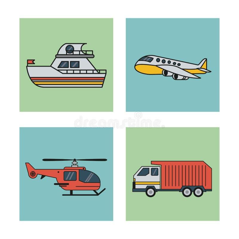 Белая предпосылка с комплектом квадрата кораблей вертолета и тележки самолета шлюпки перехода иллюстрация вектора