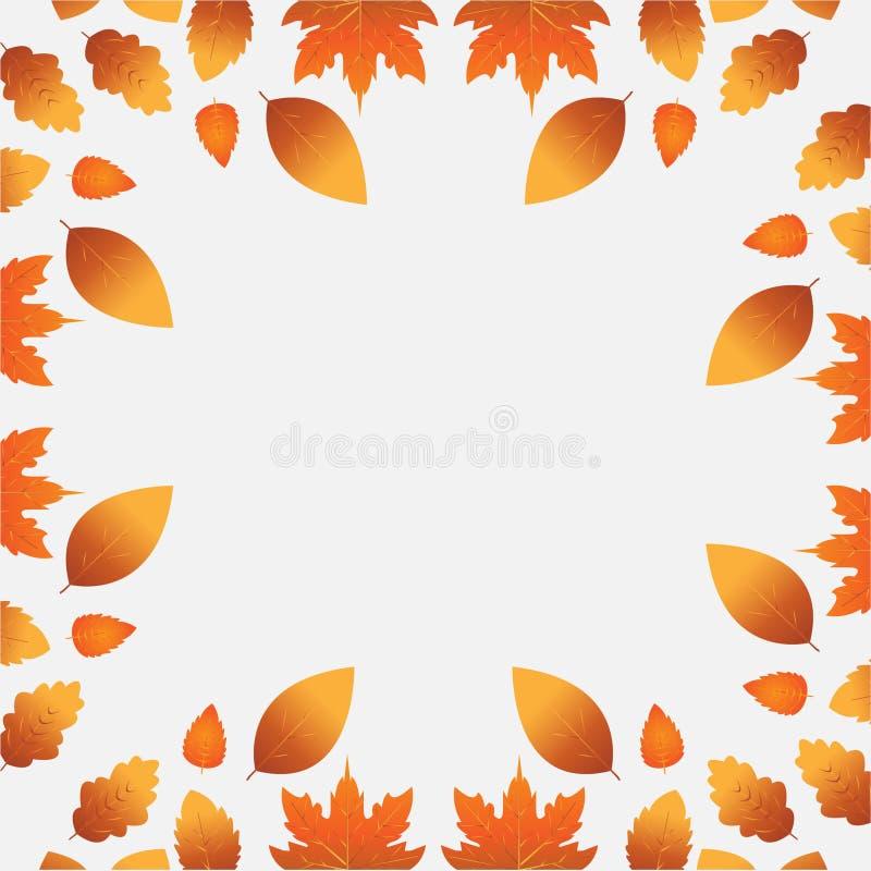 Белая предпосылка с оранжевыми листьями осени бесплатная иллюстрация