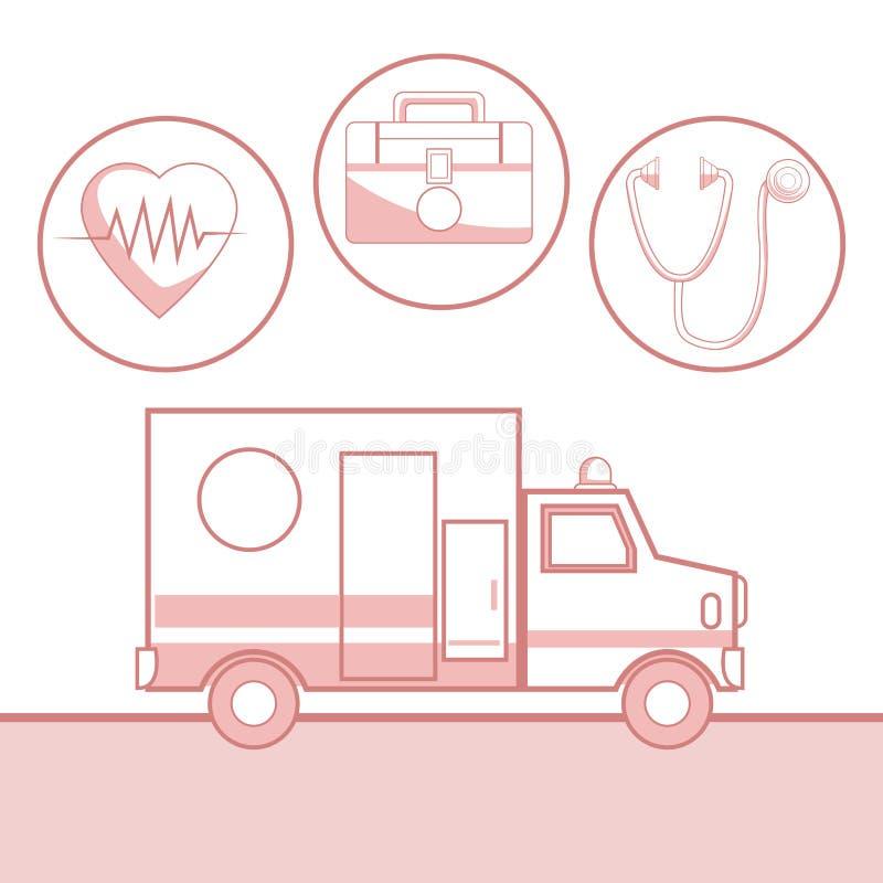 Белая предпосылка с разделами красного цвета здоровья автомобиля и значков машины скорой помощи силуэта в круговой рамке иллюстрация штока