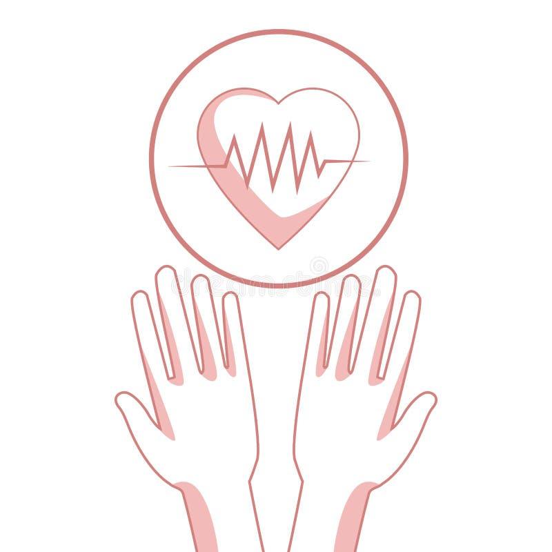 Белая предпосылка с разделами красного цвета силуэта вручает держать плавая биение сердца в круговой рамке иллюстрация вектора
