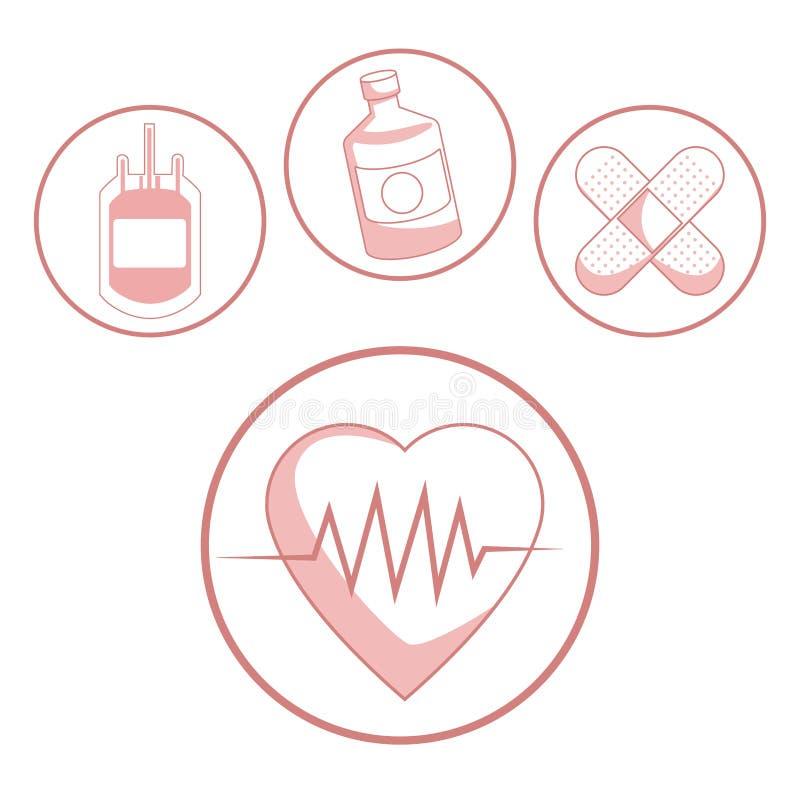 Белая предпосылка с разделами красного цвета hearbeat силуэта и здоровья значков в круговой рамке иллюстрация штока