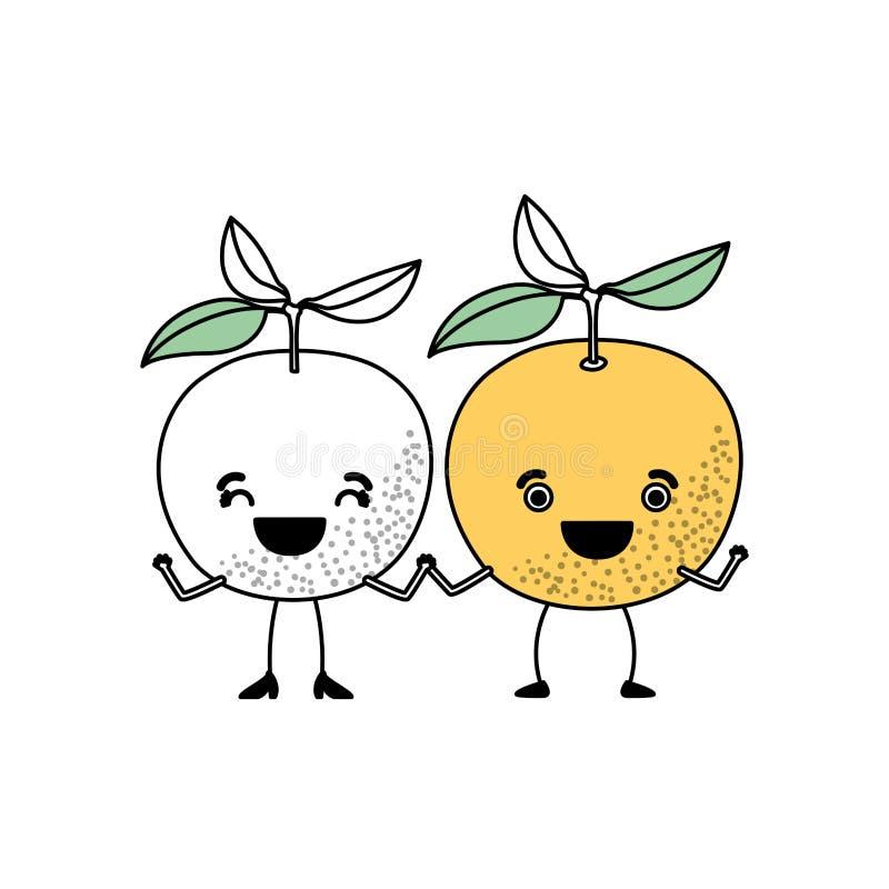 Белая предпосылка с разделами цвета силуэта с парами оранжевой карикатуры плодов иллюстрация вектора