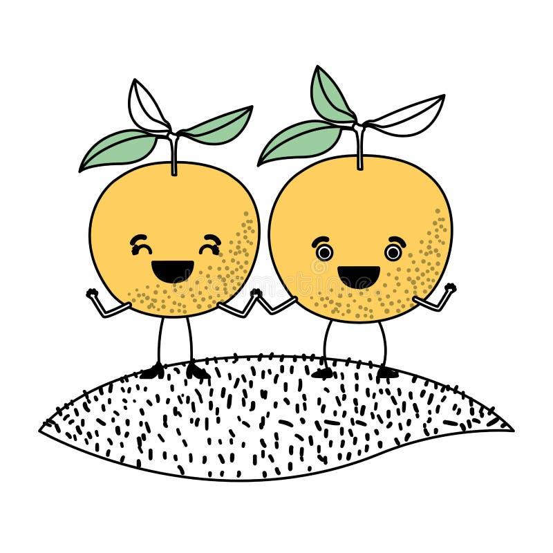 Белая предпосылка с разделами цвета силуэта с парами оранжевых плодов изобржает в карикатурном виде над травой иллюстрация вектора