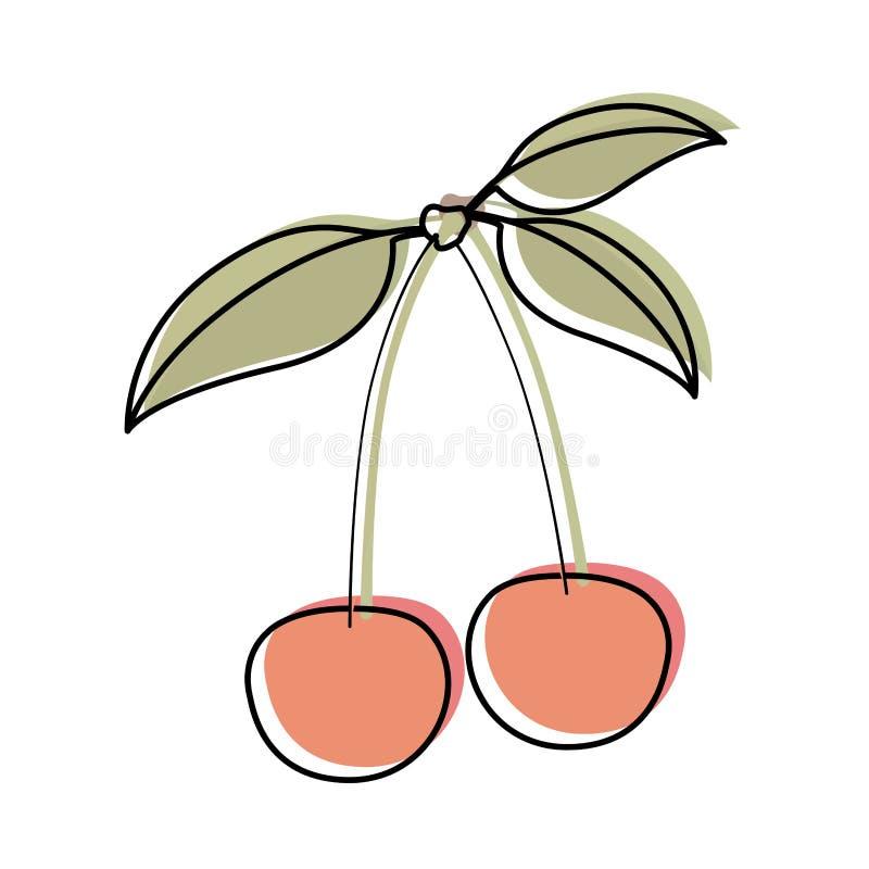 Белая предпосылка с силуэтом акварели вишен со стержнем и листьями бесплатная иллюстрация