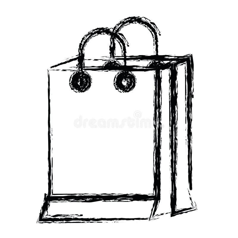 Белая предпосылка с monochrome запачканным силуэтом хозяйственной сумки иллюстрация вектора