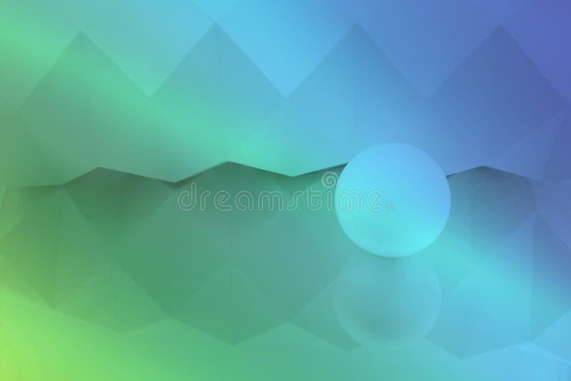 Белая предпосылка origami отраженная в зеркале со сферой в цветах raimbow иллюстрация штока