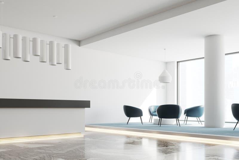 Белая приемная и место ожидания офиса иллюстрация штока