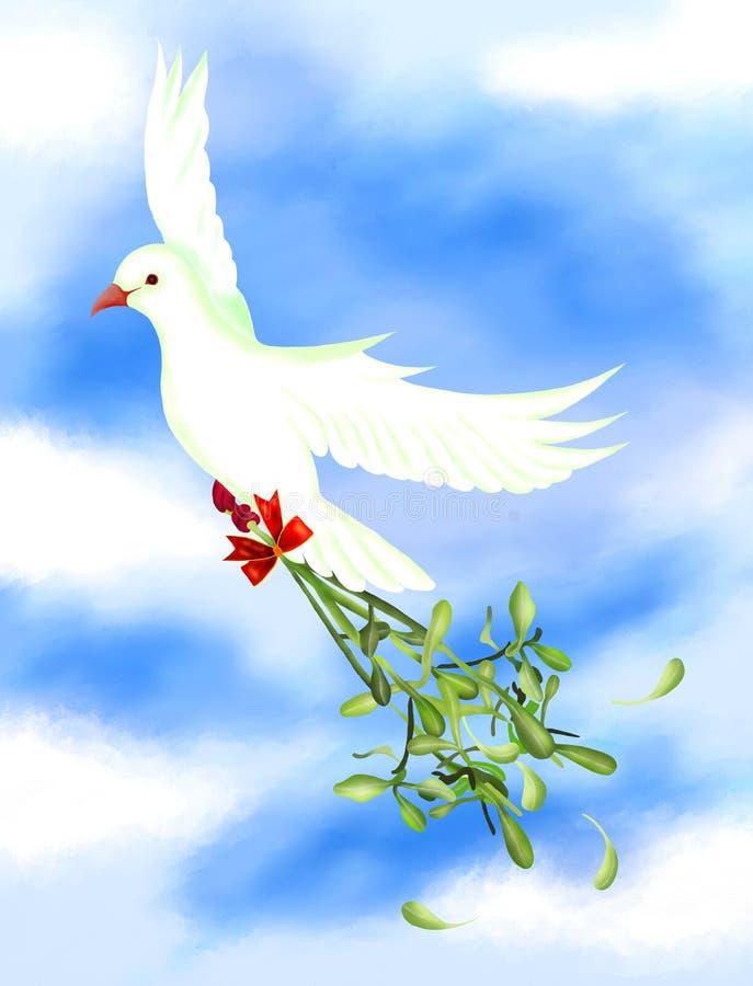 Белая птица нося зеленую омелу в небе бесплатная иллюстрация