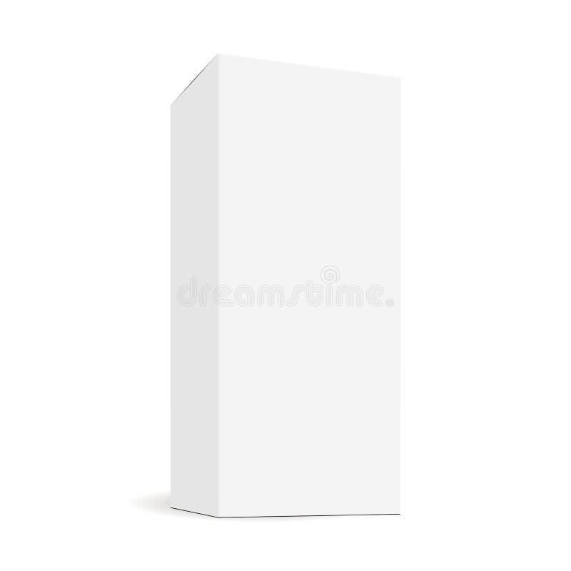 Белая пустая прямоугольная высокорослая насмешка коробки вверх с видом сбокуым перспективы иллюстрация штока