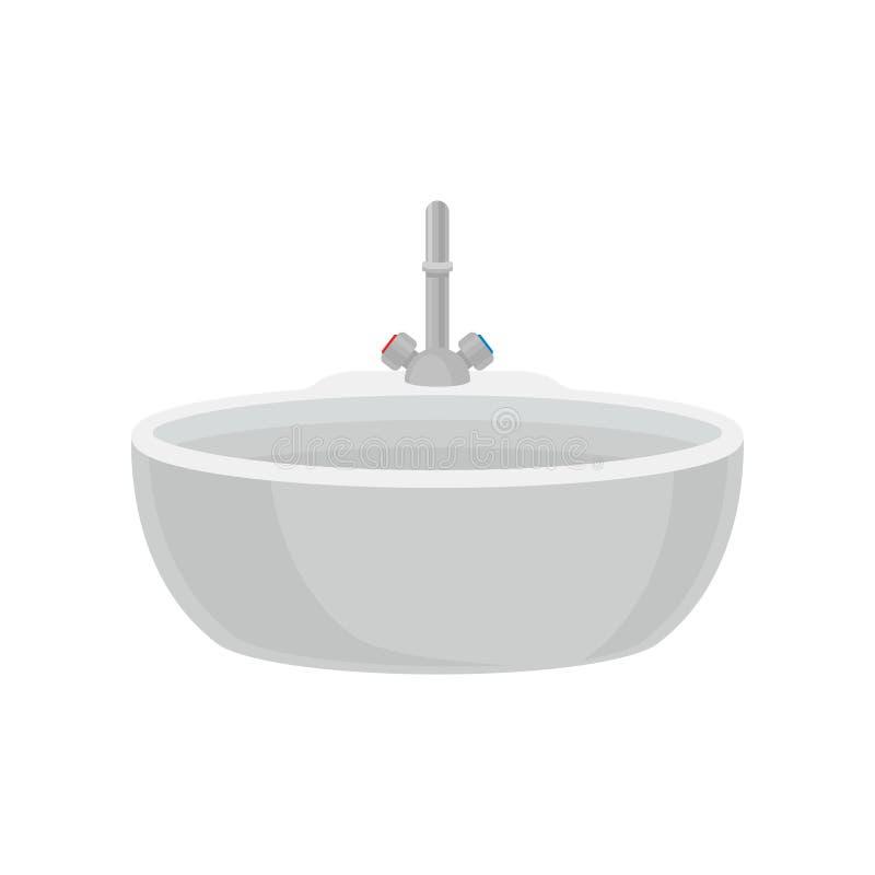 Белая раковина ванной комнаты с краном, иллюстрацией вектора мебели ванной комнаты на белой предпосылке бесплатная иллюстрация
