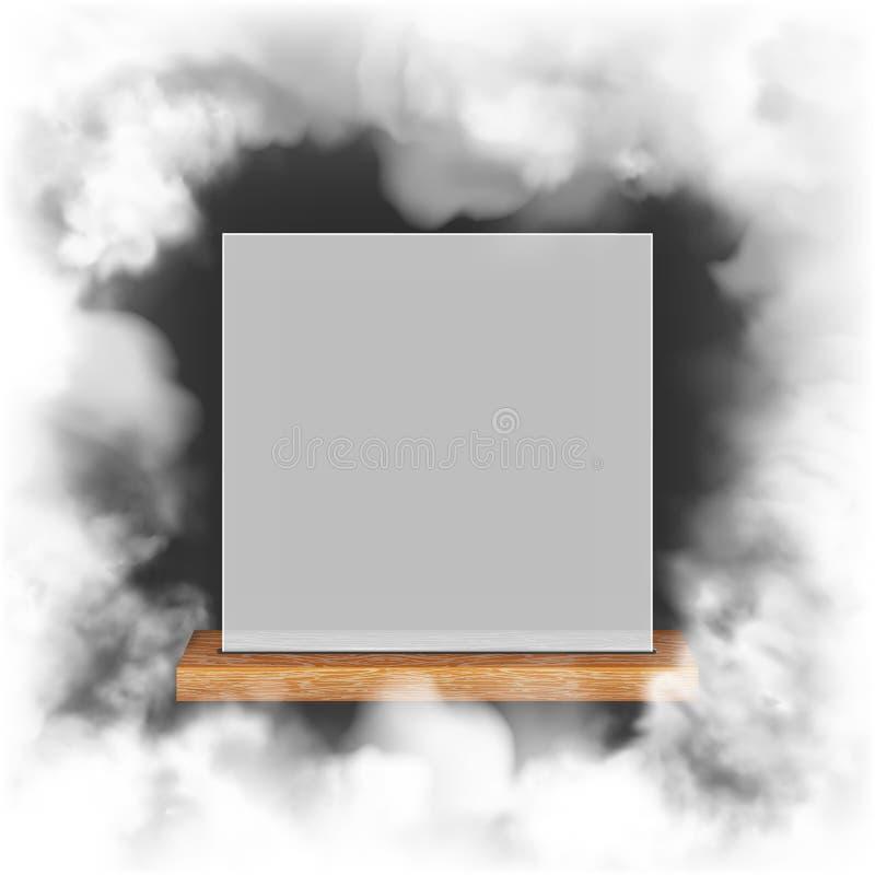 Белая рамка на деревянной полке иллюстрация вектора