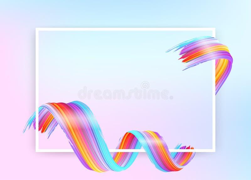 Белая рамка с абстрактным ходом кисти вектора бесплатная иллюстрация