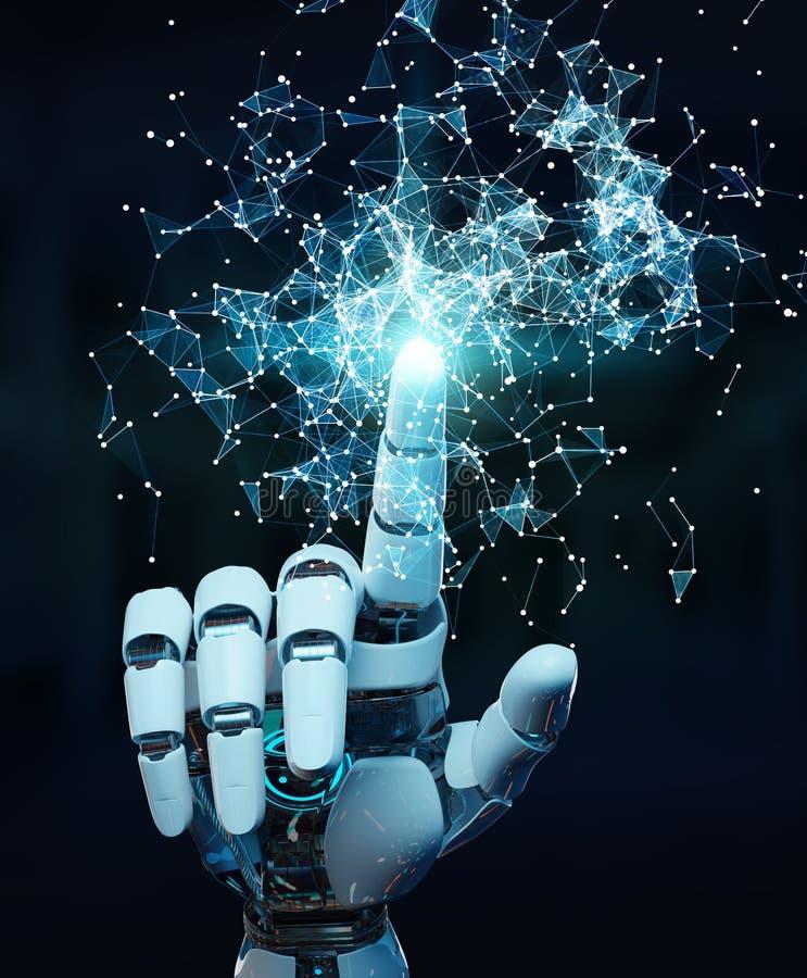 Белая рука гуманоида используя цифровое renderi интерфейса 3D hud глобуса иллюстрация штока
