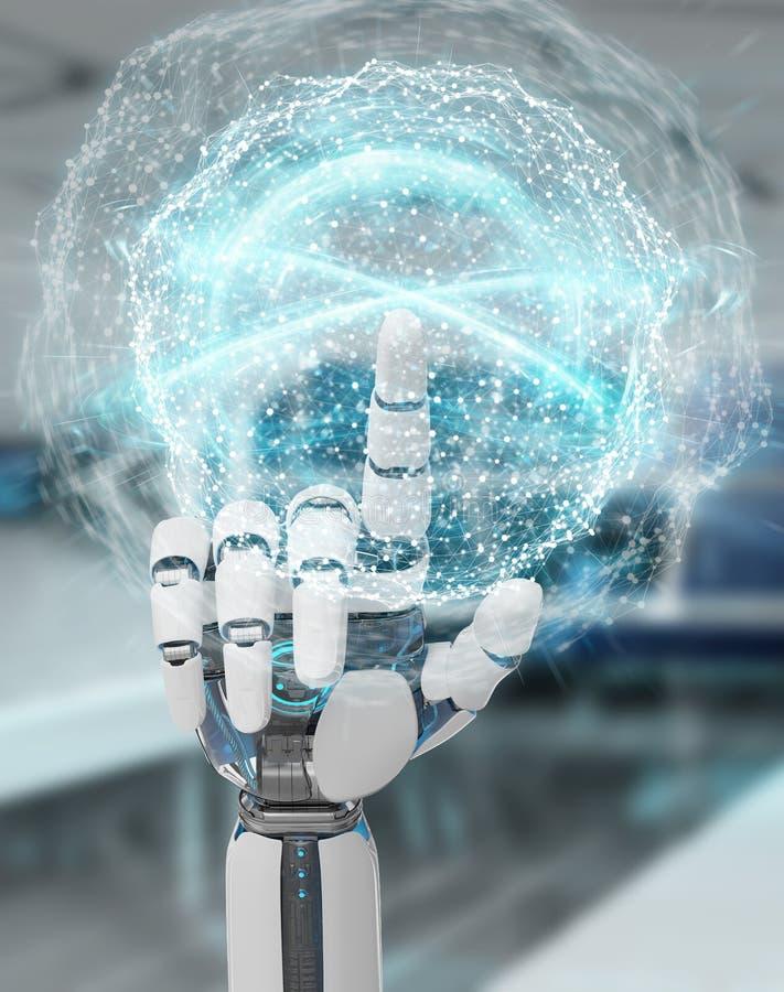 Белая рука гуманоида используя цифровой перевод глобальной вычислительной сети 3D бесплатная иллюстрация
