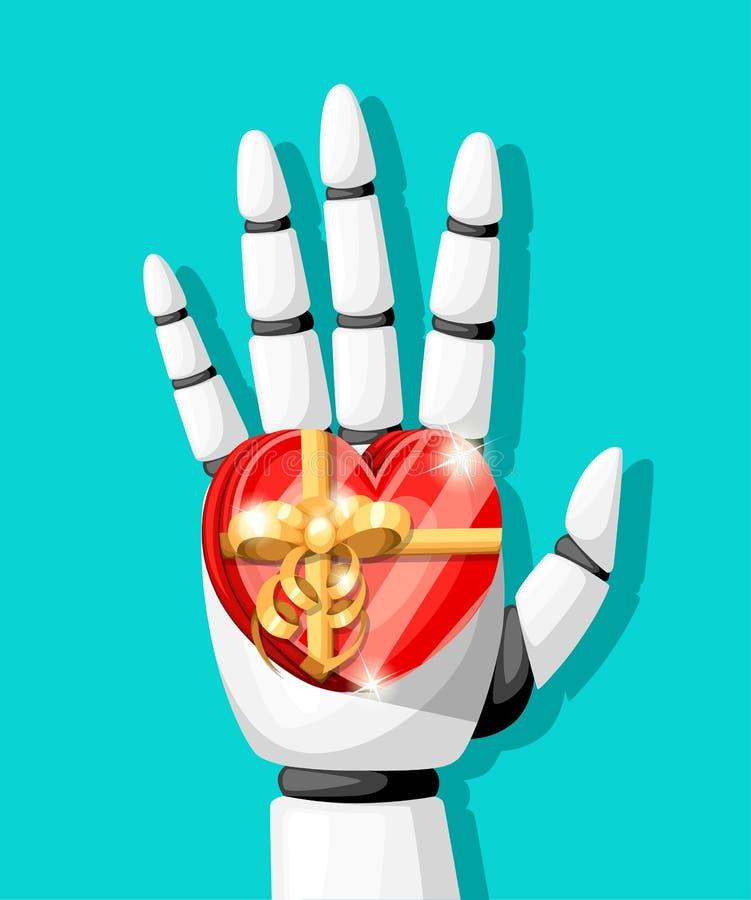 Белая рука робота или робототехническая рука для протезирования держат подарок в форме сердца с вектором o смычка золота изолиров стоковое изображение
