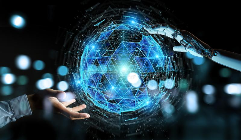 Белая рука робота используя hologra сферы цифрового треугольника взрывая иллюстрация штока