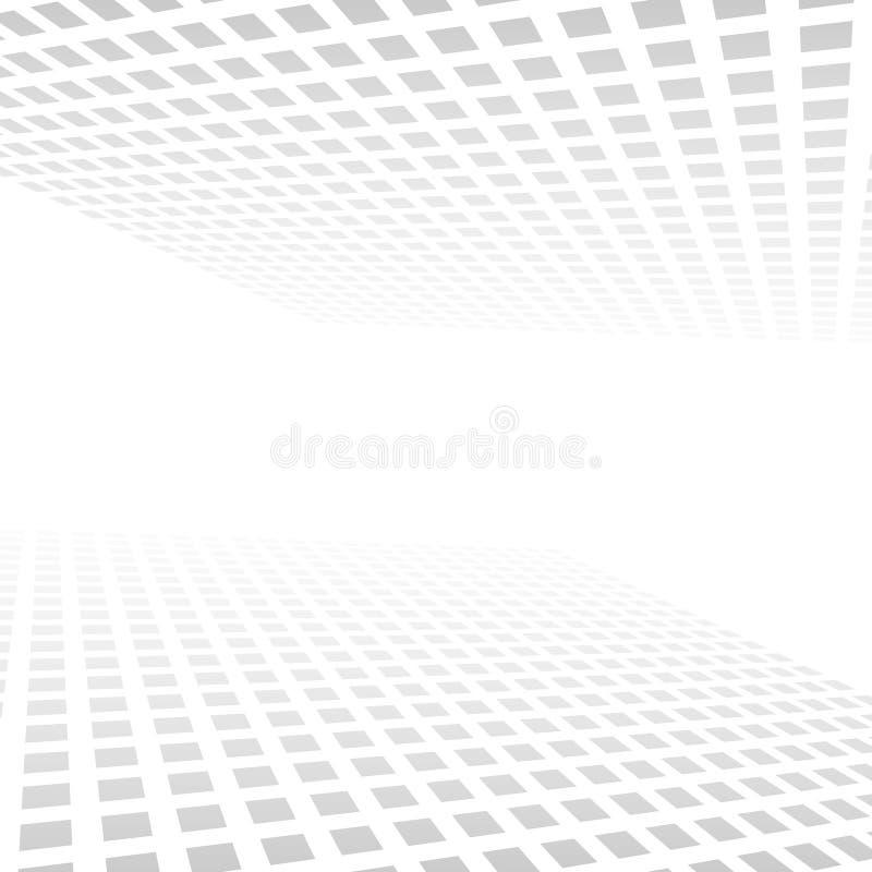 Белая серая абстрактная предпосылка, предпосылка света горизонта перспективы вектора геометрическая иллюстрация вектора