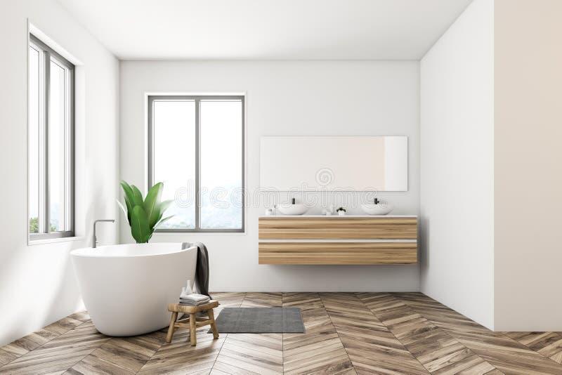 Белая скандинавская ванная комната, ушат, раковина, взгляд со стороны иллюстрация штока