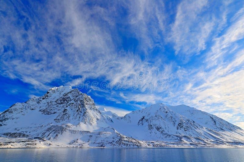 Белая снежная гора, голубой ледник Свальбард, Норвегия Лед в океане Сумерк айсберга, океан Розовые облака с ледяным полем Красиво стоковая фотография rf