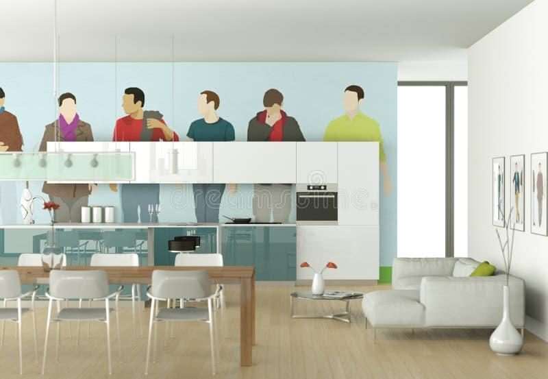 Белая современная кухня с шуточными обоями иллюстрация вектора