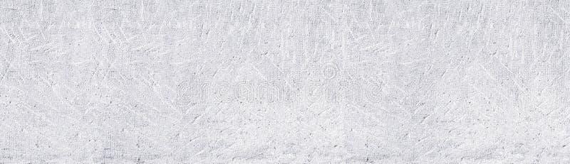 Белая старая проштемпелеванная предпосылка бетонной стены широкая панорамная Whitewashed постарело грубая текстура поверхности це иллюстрация штока