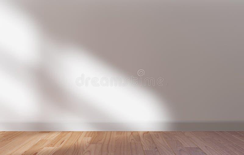 Белая стена и деревянная насмешка пола вверх, свет солнца, космос 3d экземпляра представить иллюстрация вектора