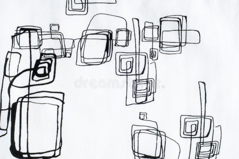 Белая текстура ткани, лужайка Геометрические формы нарисованные с черным PA стоковые фотографии rf