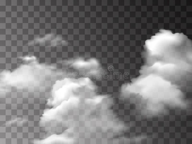 Белая текстура тумана изолированная на прозрачной предпосылке Специальный эффект пара Реалистические дым или туман огня вектора иллюстрация штока