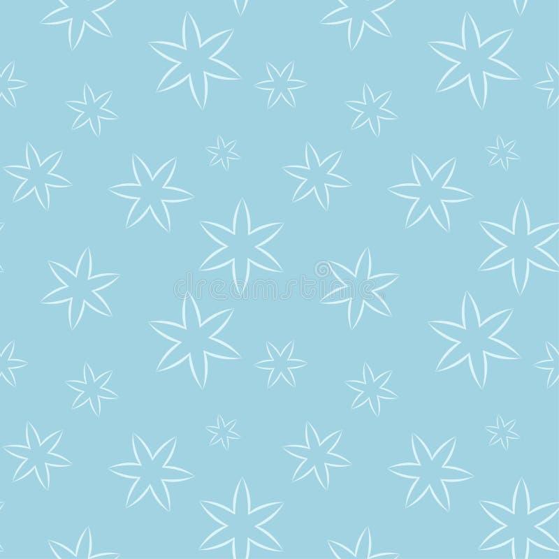 Белая флористическая безшовная картина на голубой предпосылке иллюстрация вектора