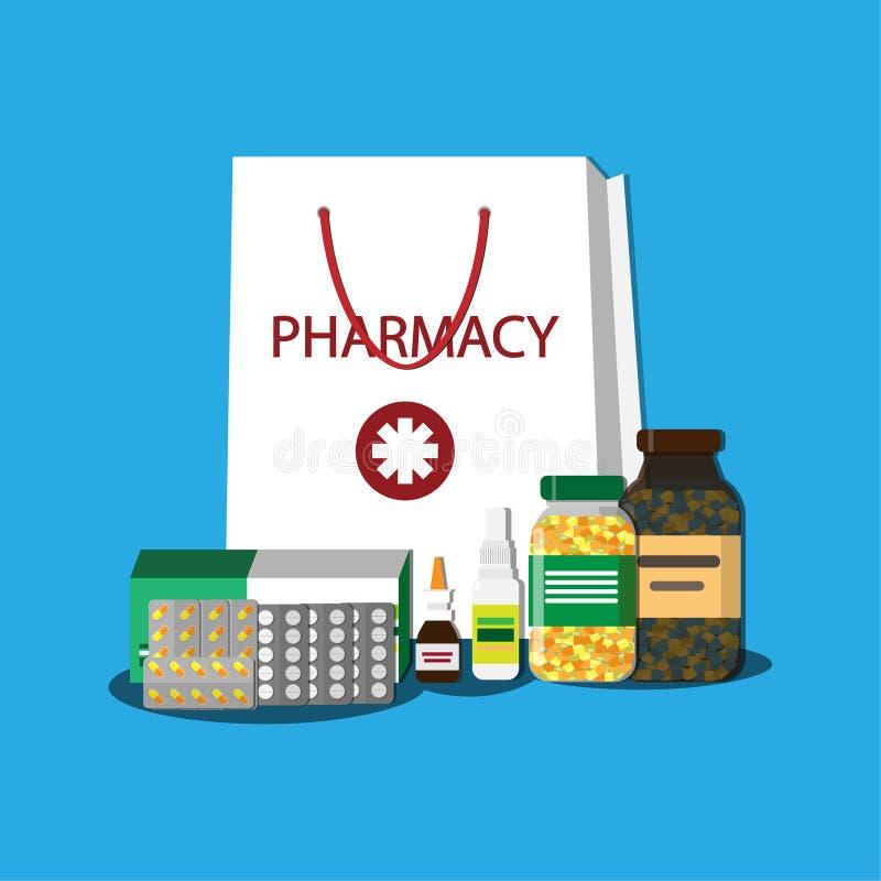 Белая хозяйственная сумка с различными медицинскими пилюльками и бутылками, здравоохранение и покупки, фармация, аптека Illustrat бесплатная иллюстрация